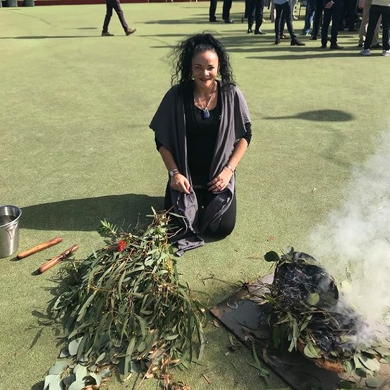 Jem Stone in an Indigenous and Australian ceremony.